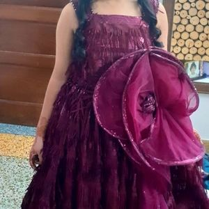 Beautiful wine party wear long gown dress for this festive season